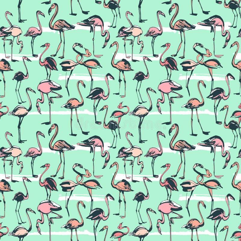 Modèle sans couture d'oiseaux d'été exotique tropical de flamants Dentelez a illustration stock