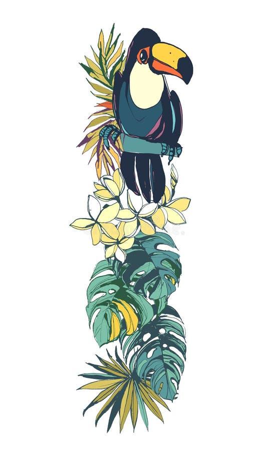 Modèle sans couture d'oiseaux d'été exotique tropical de flamants Noircissez a illustration libre de droits