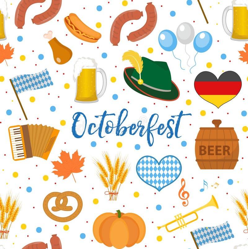 Modèle sans couture d'Oktoberfest Fest d'octobre à l'arrière-plan sans fin de l'Allemagne Répétition de la texture avec de la biè illustration de vecteur