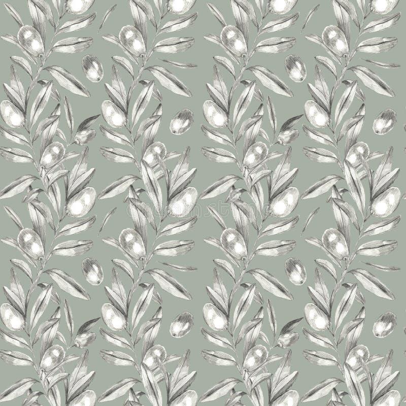 Modèle sans couture d'olives illustration libre de droits