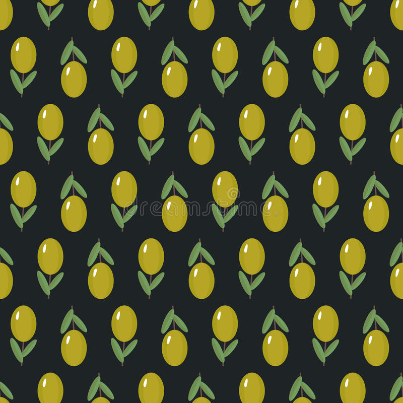 Modèle sans couture d'olives sur le fond foncé illustration de vecteur
