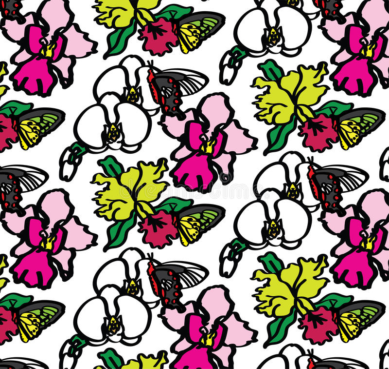 Modèle sans couture d'orchidées et de papillons image stock