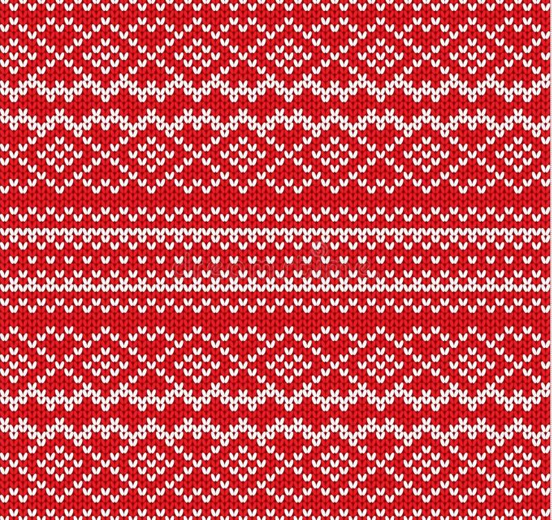 Modèle sans couture d'ornement géométrique de Knit Handcraft la conception de tricots Texture tricotée de chandail de couleur rou illustration stock