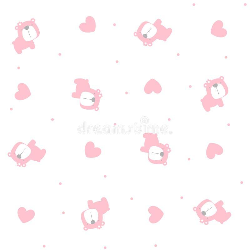 Modèle sans couture d'ours mignon de bébé avec des coeurs illustration libre de droits