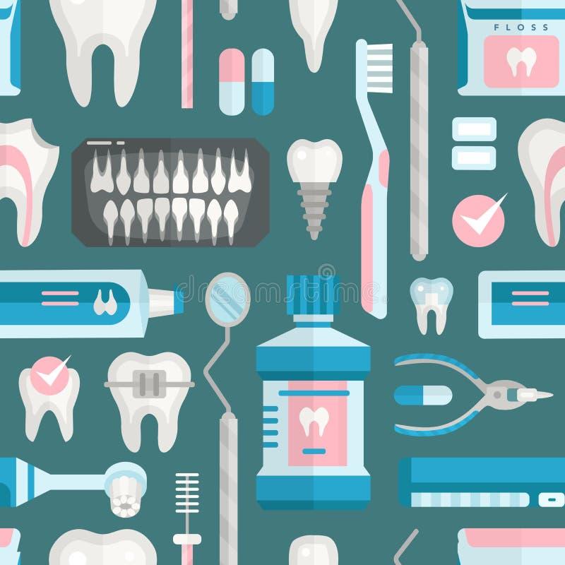Modèle sans couture d'outils de dentiste de soins de santé de médecine d'instrument de stomatologie d'icônes d'implantation de ve illustration libre de droits