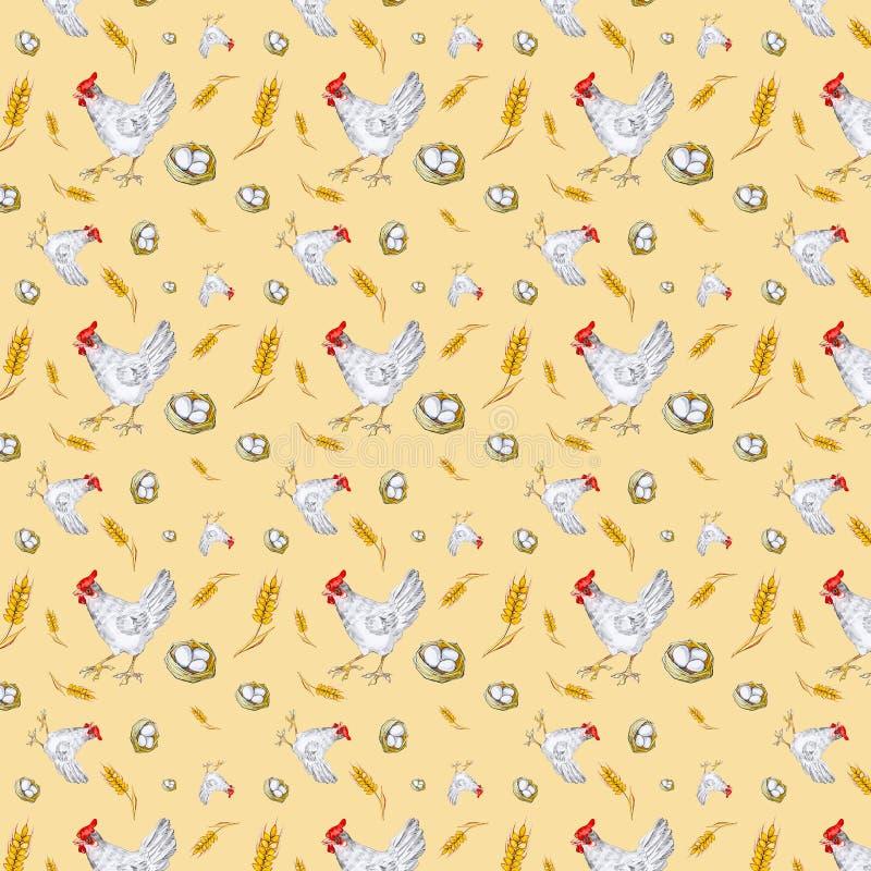Modèle sans couture d'un poulet, oeuf de poulet dans un panier et une oreille de blé Illustration d'aquarelle d'isolement sur le  illustration de vecteur
