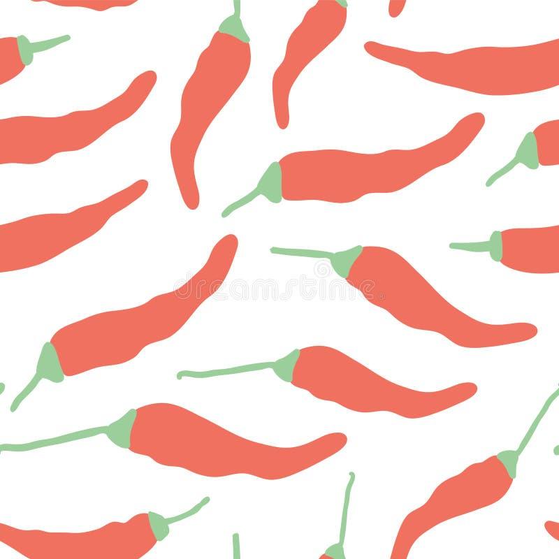 Modèle sans couture d'un rouge ardent de poivre de piments de griffonnage illustration de vecteur