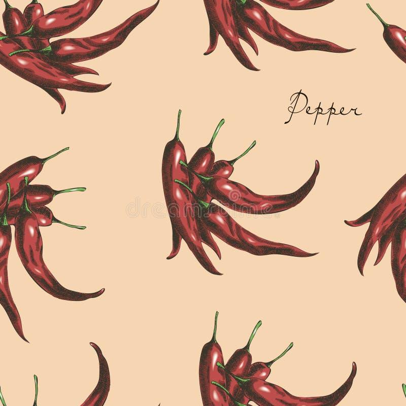 Modèle sans couture d'un rouge ardent de poivrons de piment illustration libre de droits