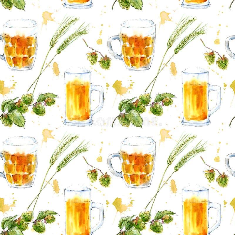 Modèle sans couture d'un verre d'une bière, d'une orge et des houblon Photo d'une boisson alcoolisée illustration stock