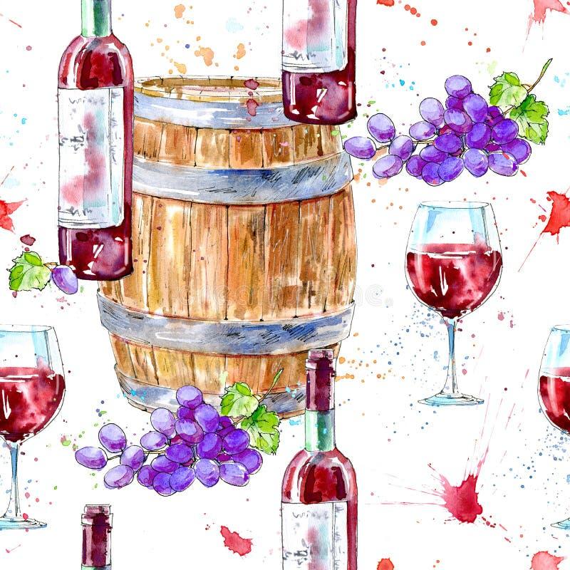 Modèle sans couture d'une bouteille de vin rouge, de verres, de baril en bois et de raisins illustration de vecteur