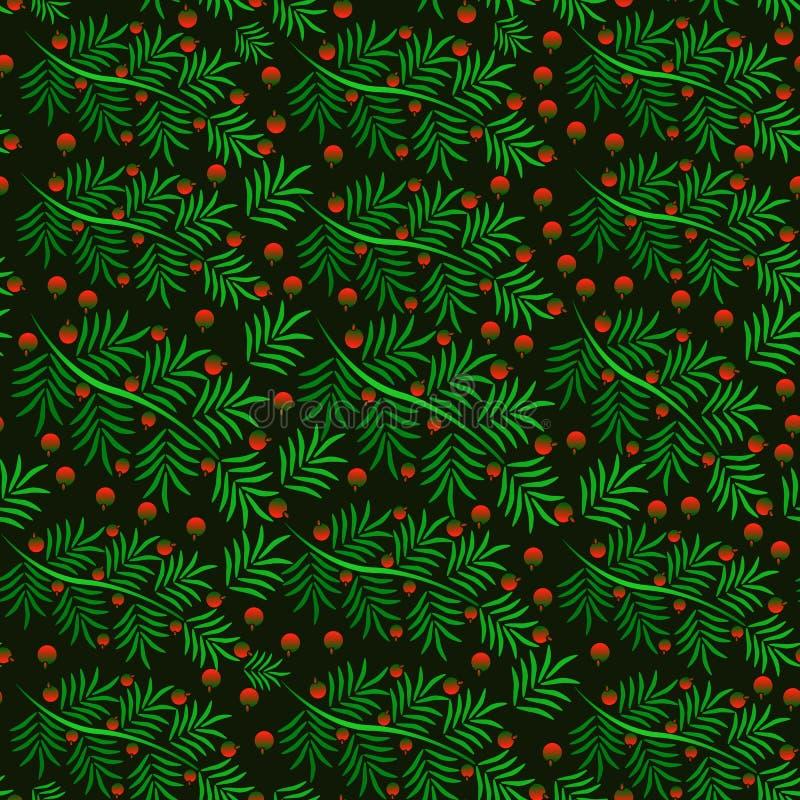 Modèle sans couture d'une branche de Noël avec les baies rouges illustration de vecteur