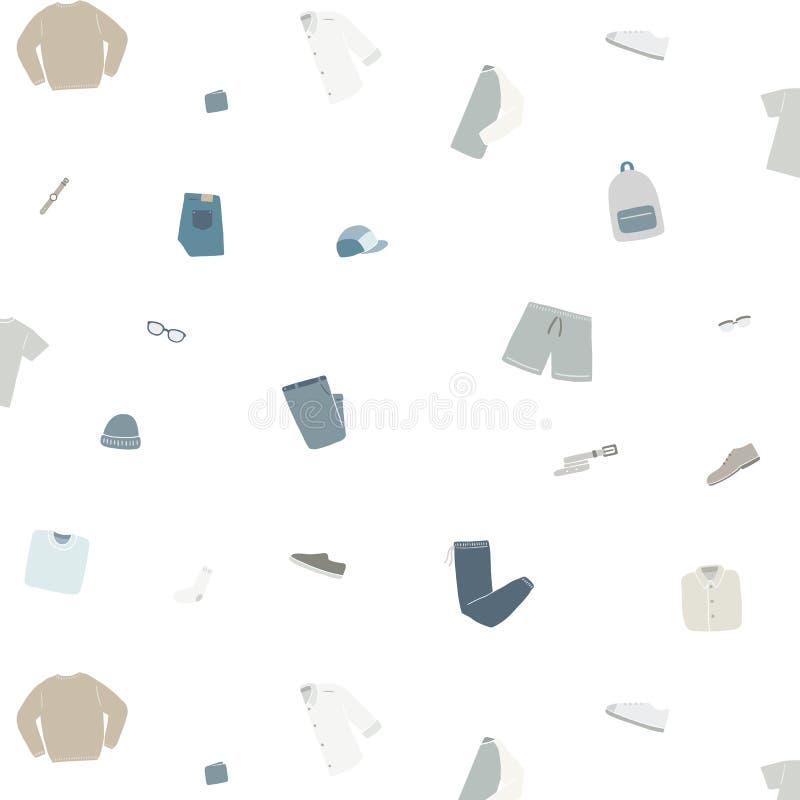 Modèle sans couture d'usage de mode d'hommes avec la chemise, chaussure, chaussette, chapeau, montre, culotte, chandail, sac, pul illustration de vecteur