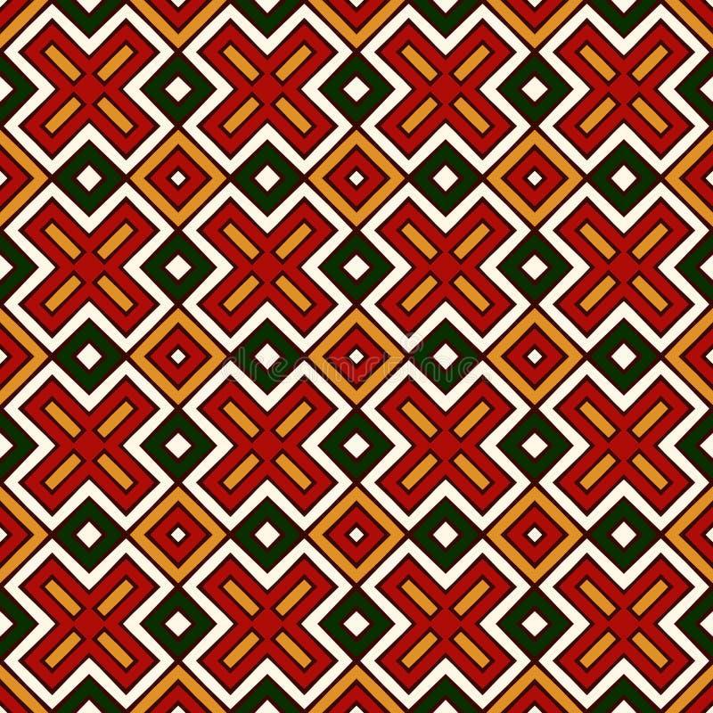 Modèle sans couture dans des couleurs traditionnelles de Noël Fond abstrait ornemental lumineux répété de formes géométriques illustration de vecteur