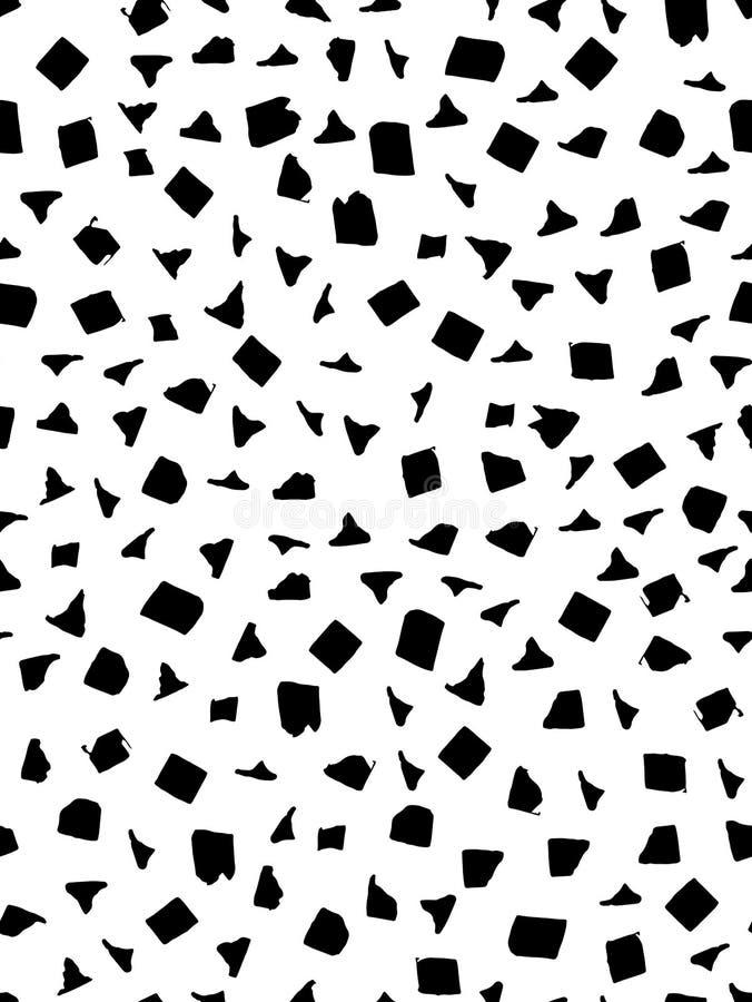 Modèle sans couture dans la couleur noire et blanche avec les formes de place, triangulaires et rectangulaires Encre et stylo Tir illustration libre de droits