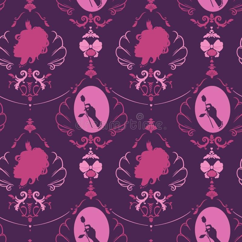 Modèle sans couture dans le style de fille victorian rococo Silhouette o illustration stock