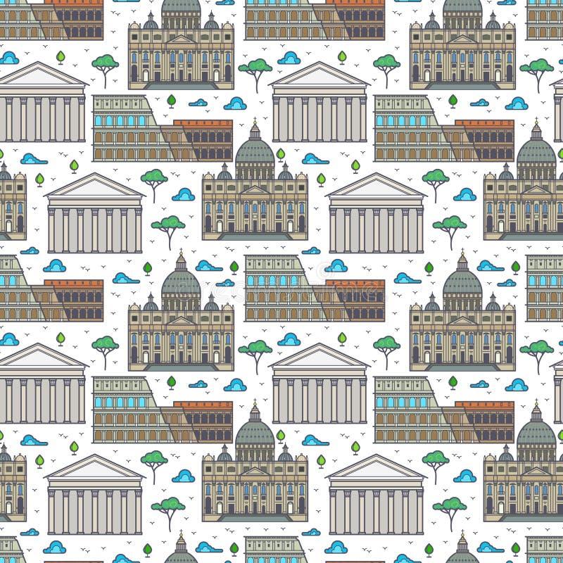 Modèle sans couture de bâtiments célèbres linéaires de Rome illustration de vecteur