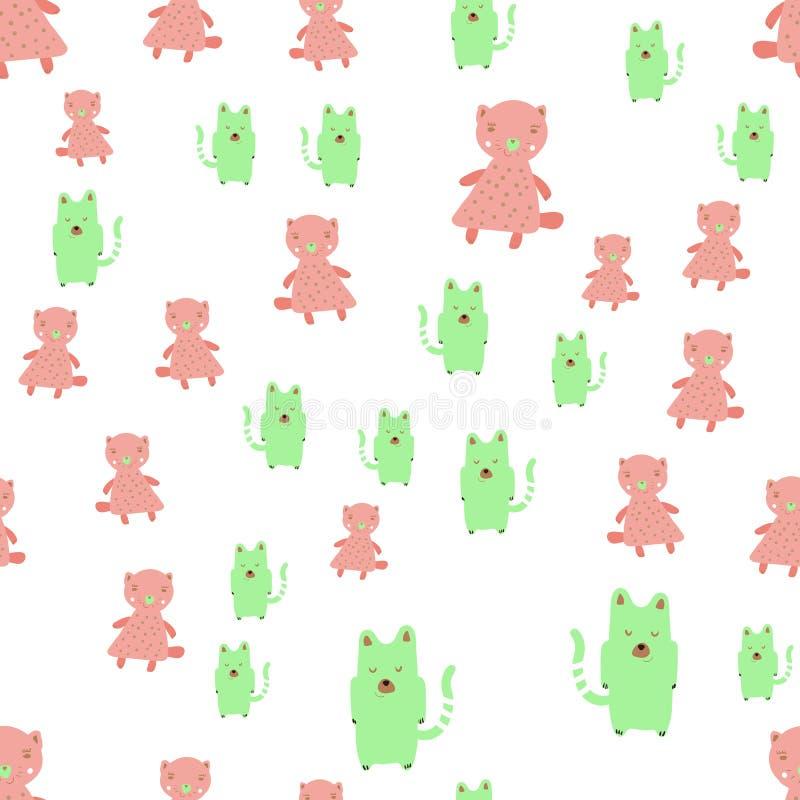 Modèle sans couture de bébé avec les chats et les boules mignons Fond puéril de vecteur créatif pour le tissu, textile, papier pe illustration libre de droits