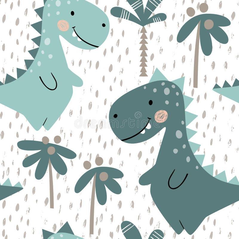 Modèle sans couture de bébé garçon de dinosaure Dino doux avec la paume Copie mignonne scandinave illustration de vecteur