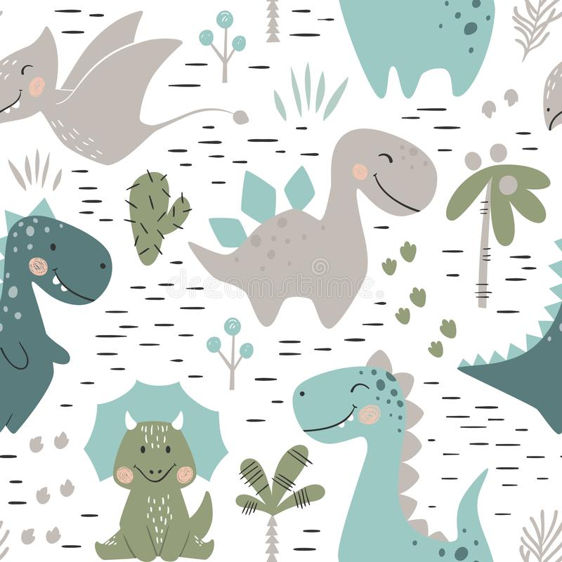 Modèle sans couture de bébé garçon de dinosaure Dino doux avec la paume et le cactus illustration de vecteur