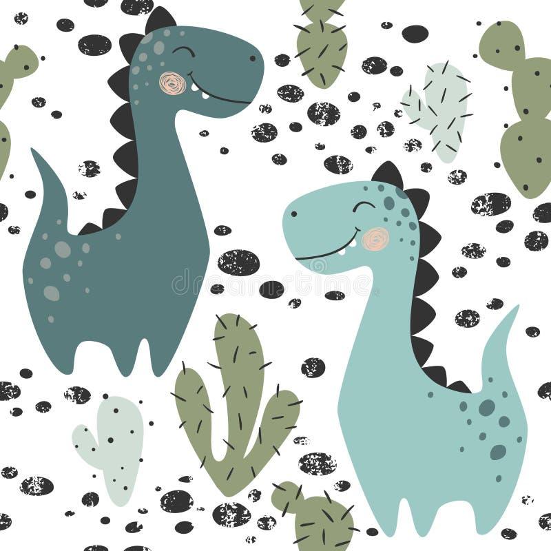 Modèle sans couture de bébé garçon de dinosaure Dino doux avec le cactus Copie mignonne scandinave illustration libre de droits