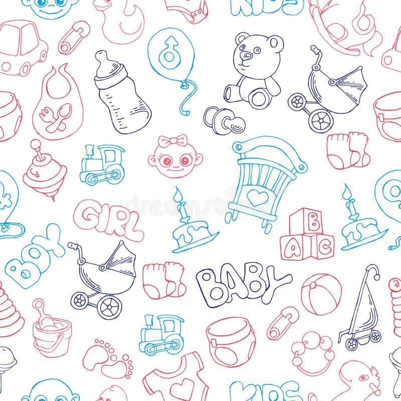 Modèle sans couture de bébé mignon de griffonnage illustration de vecteur