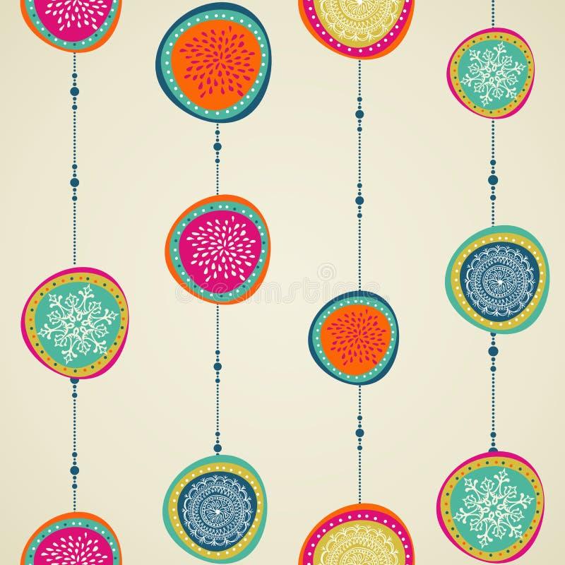 Modèle sans couture de babiole de cercle d'éléments de Joyeux Noël. illustration libre de droits