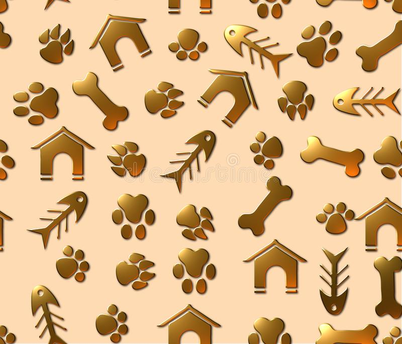 Modèle sans couture de backgroun de thème d'animal familier illustration de vecteur