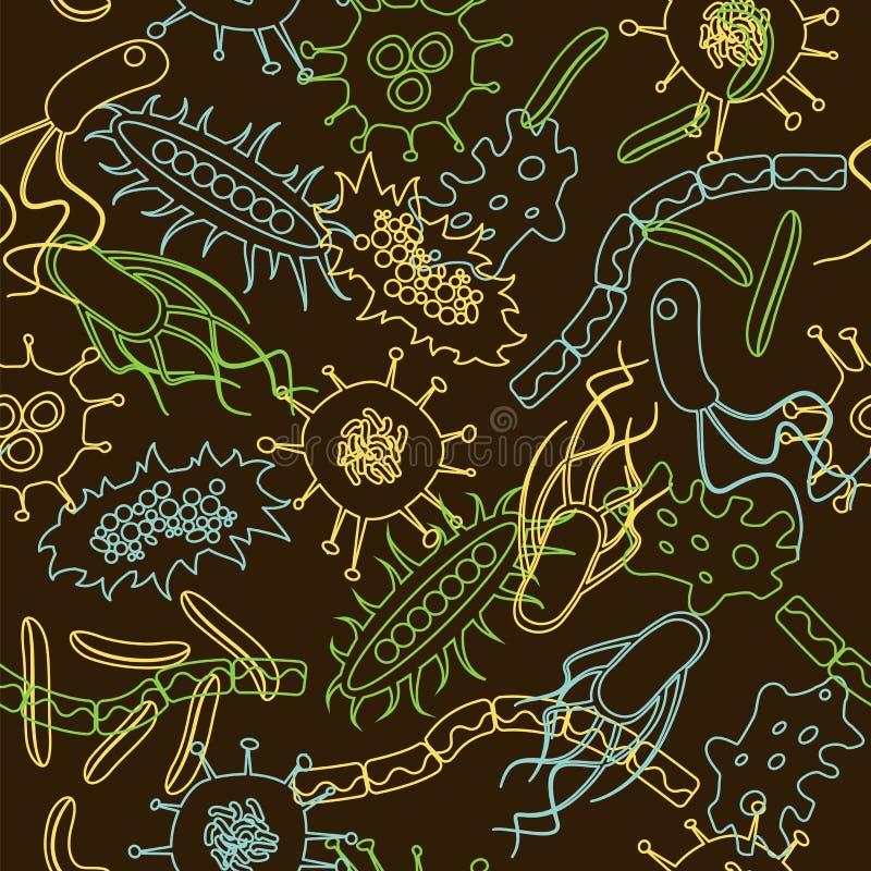 Modèle sans couture de bactéries illustration libre de droits