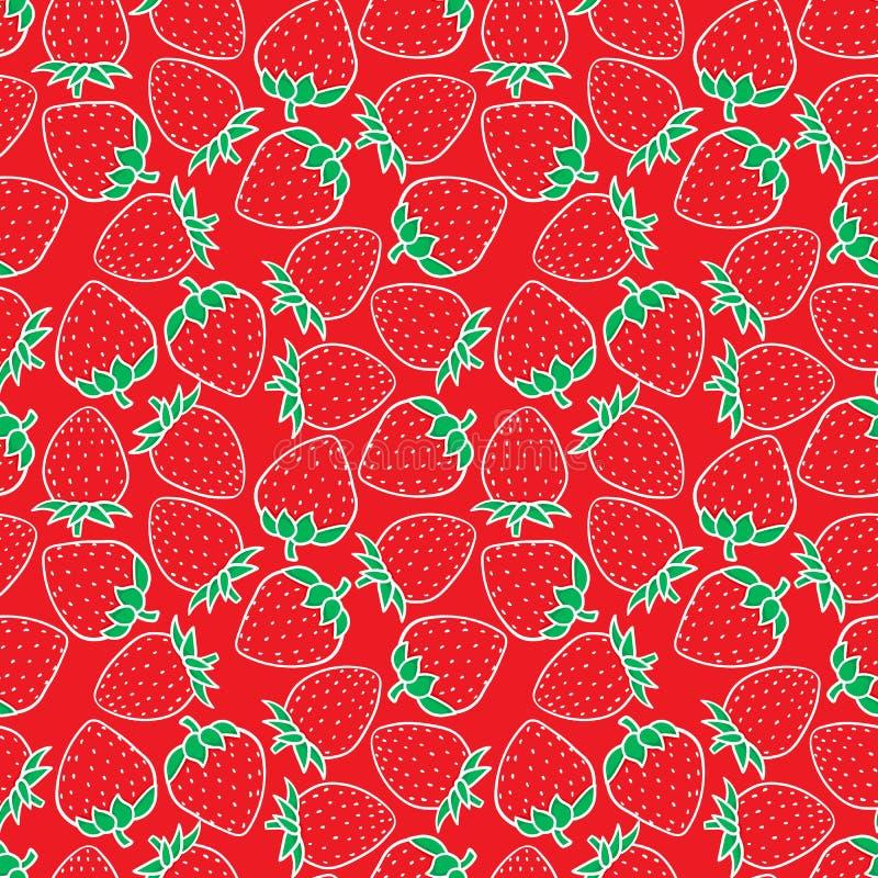 Modèle sans couture de baie douce de fraise Texture extérieure de conception Illustration tirée par la main de vecteur sur le rou illustration de vecteur