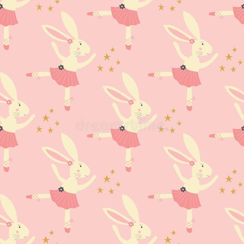 Modèle sans couture de ballerine de lapin avec le tutu, les fleurs, les chaussures de ballerine, et les étoiles sur un fond rose illustration de vecteur