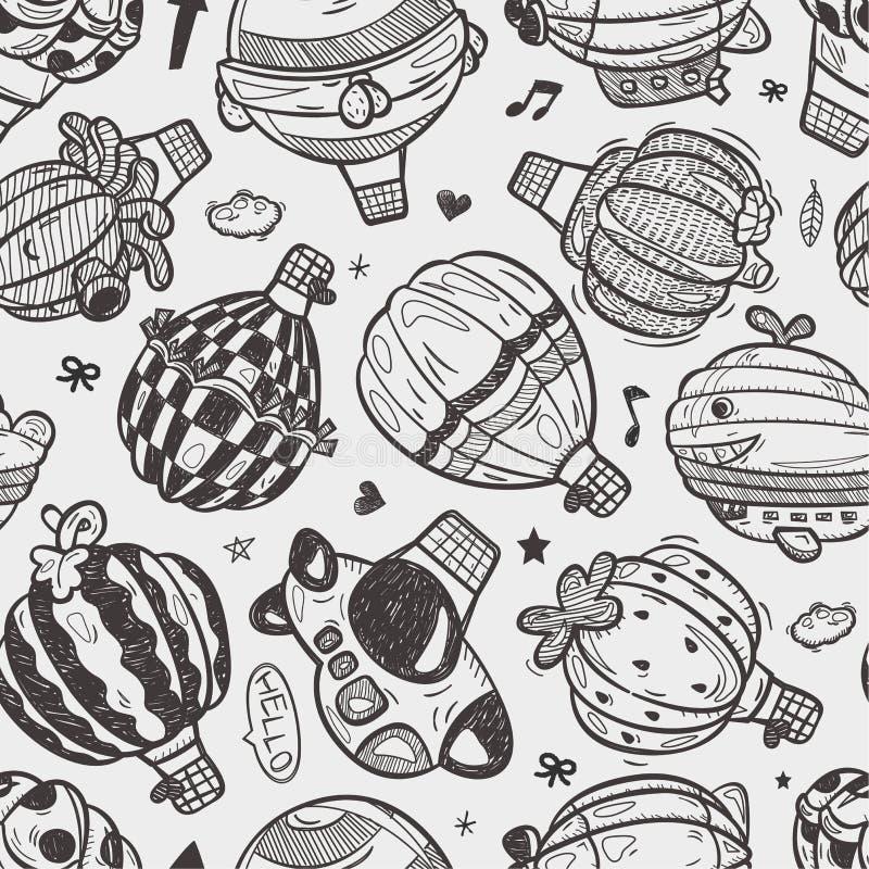Modèle sans couture de ballon à air de doodlehot illustration libre de droits