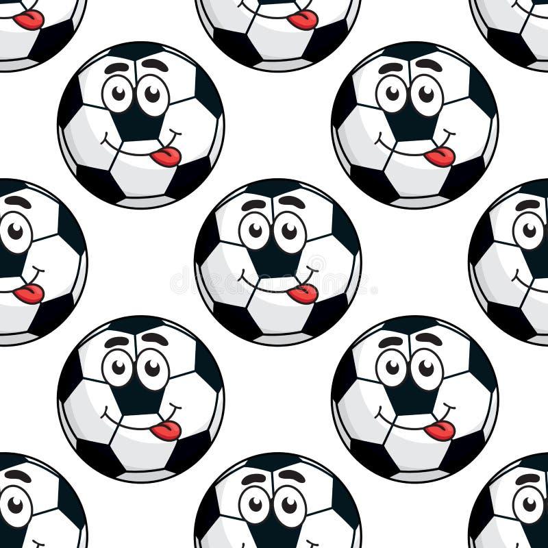 Modèle sans couture de ballon de football maladroit illustration stock