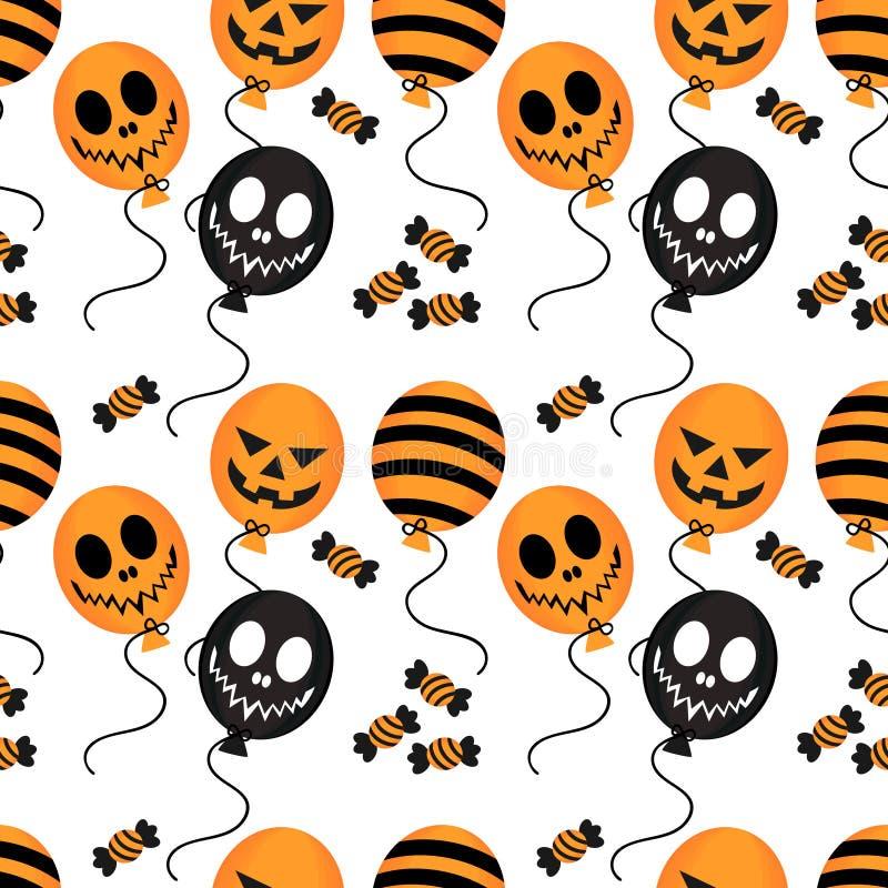 Modèle sans couture de ballon et de sucrerie de Halloween illustration stock