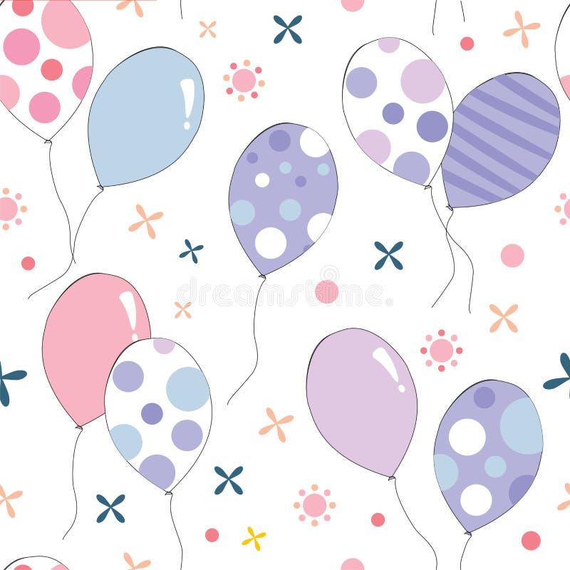 Modèle sans couture de ballons colorés de couleur en pastel illustration stock