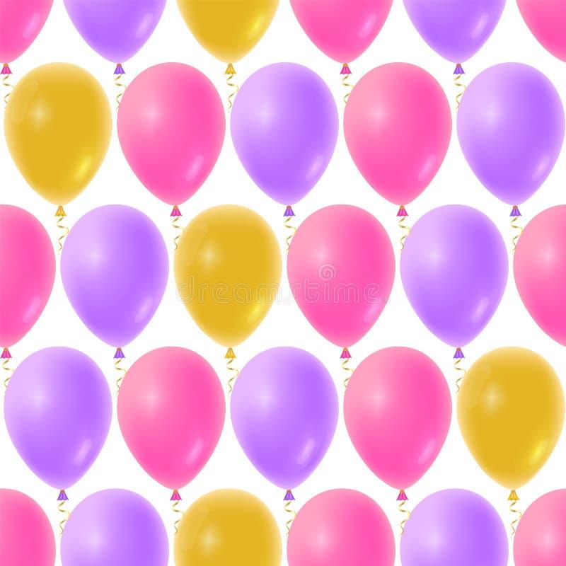 Modèle sans couture de ballons pour le fond de fête de naissance Ballon réaliste d'anniversaire flottant dans le ciel illustration stock