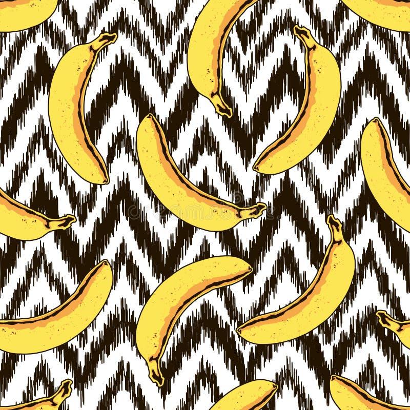 Modèle sans couture de banane et de zigzag de vecteur illustration stock