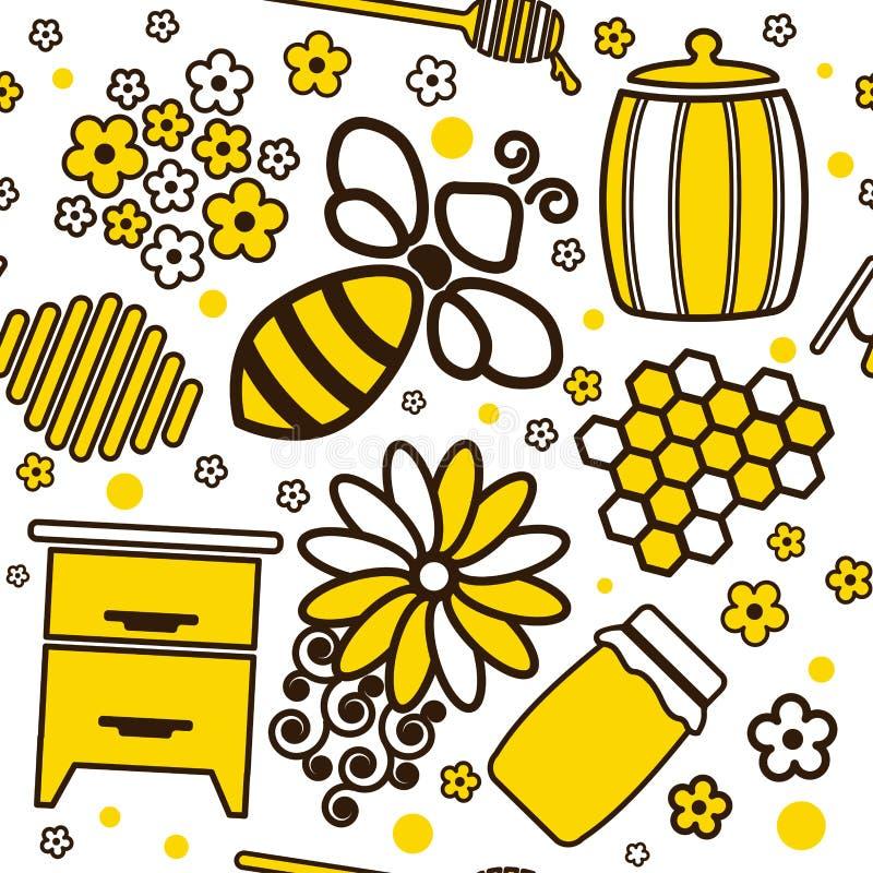 Modèle sans couture de bande dessinée avec les pots et l'abeille de miel illustration stock