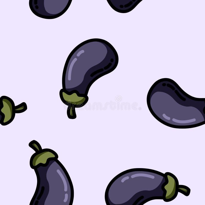Modèle sans couture de bande dessinée d'aubergine plate mignonne de style illustration de vecteur