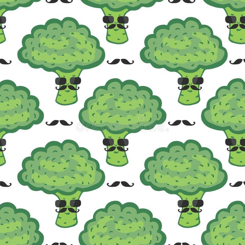 Modèle sans couture de bande dessinée drôle de brocoli Nourriture de Vegan Brocoli de hippie avec la copie de moustache illustration de vecteur