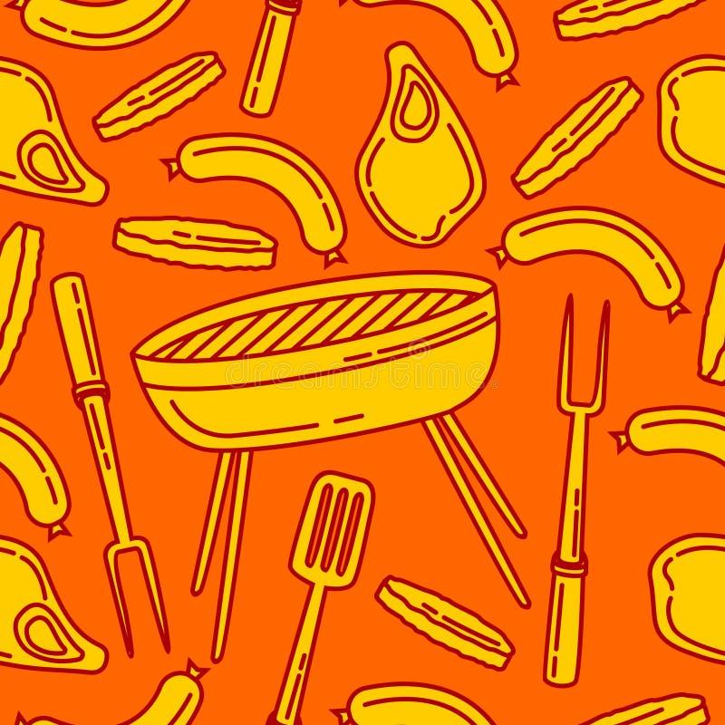 Modèle sans couture de barbecue illustration stock