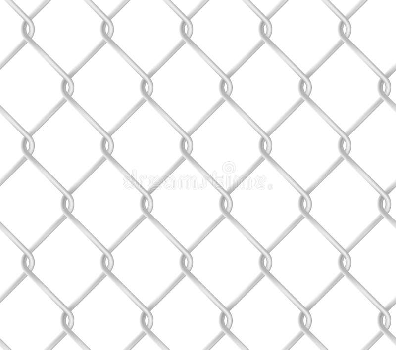 Modèle sans couture de barrière de maillon de chaîne Texture réaliste de vecteur de grillage en métal illustration libre de droits