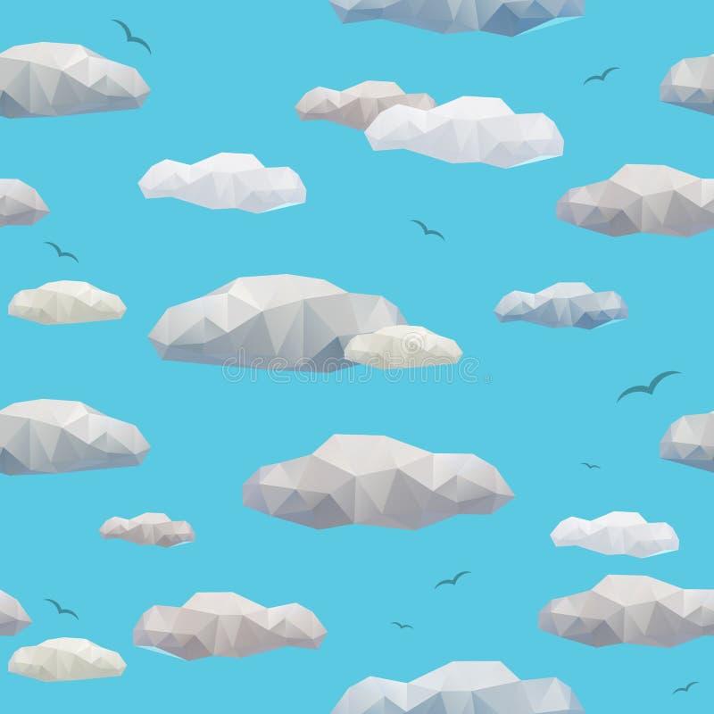 Modèle sans couture de bas poly nuages illustration stock