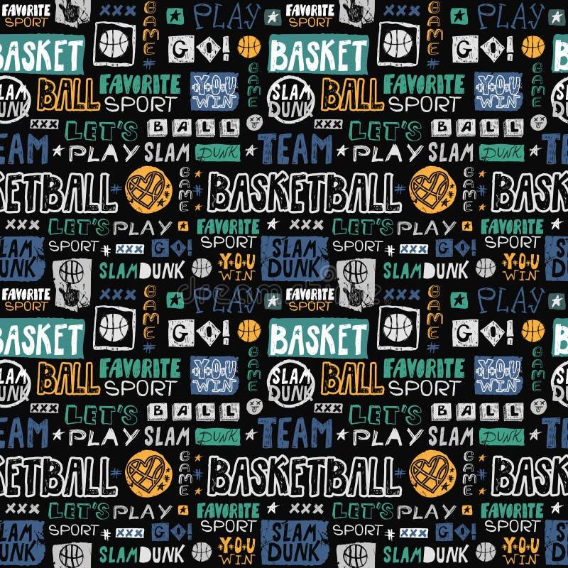 Modèle sans couture de basket-ball de croquis de vecteur Rétro, grunge, le lettrage de main-dessin, sport préféré, disparaissent, illustration libre de droits