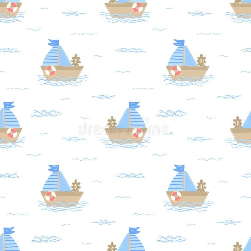 Modèle sans couture de bateau tiré par la main avec des vagues de mer Image de vecteur sur le thème marin pour un marin de garçon illustration de vecteur