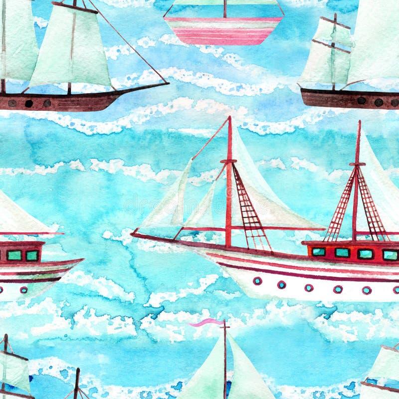 Modèle sans couture de bateaux de navigation d'aquarelle illustration de vecteur