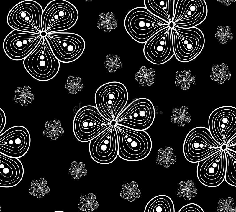 Modèle sans couture de beau vecteur avec les fleurs figurées, texture florale noire et blanche illustration libre de droits