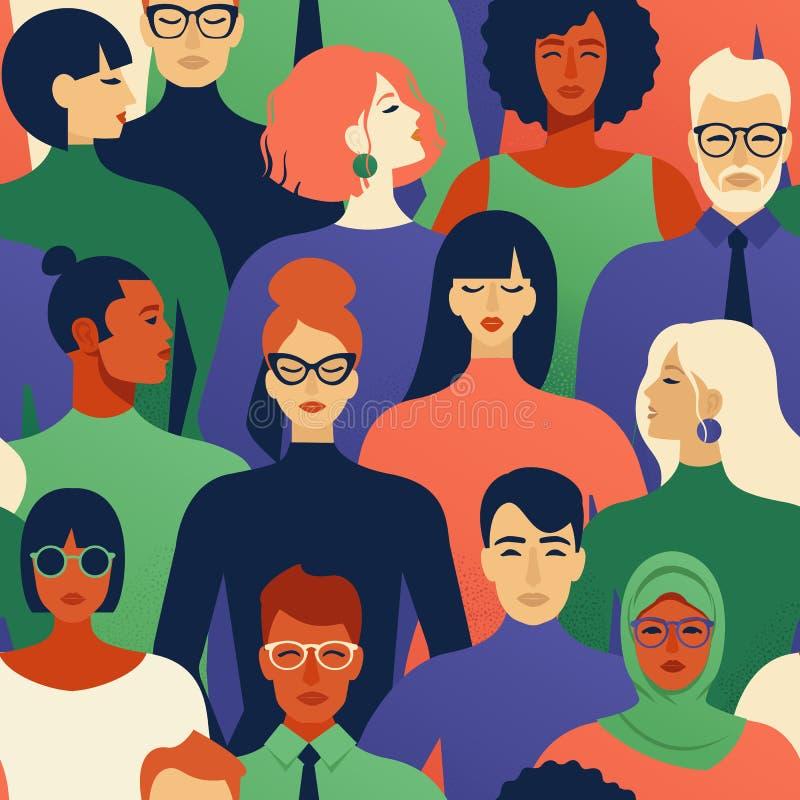 Modèle sans couture de beaucoup de différentes têtes de profil de personnes illustration de vecteur
