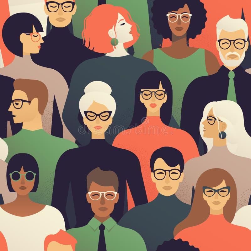 Modèle sans couture de beaucoup de différentes têtes de profil de personnes Fond de vecteur illustration de vecteur