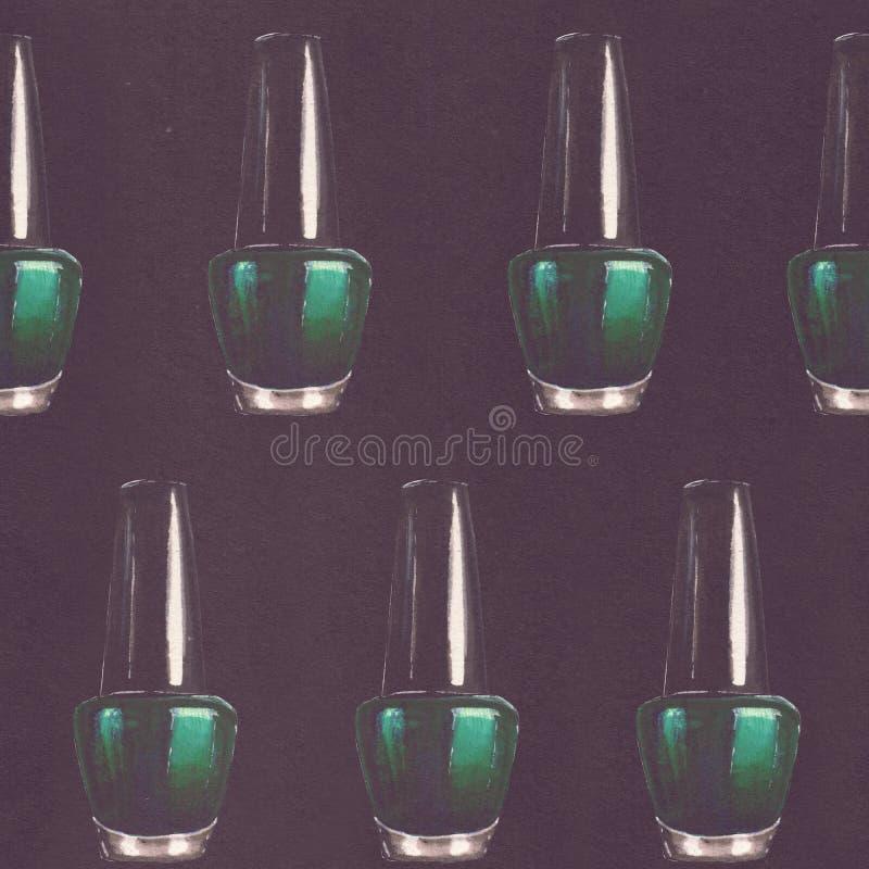 Modèle sans couture de beauté de trame avec les bouteilles tirées par la main de vernis à ongles de sarcelle d'hiver sur le fond  images stock