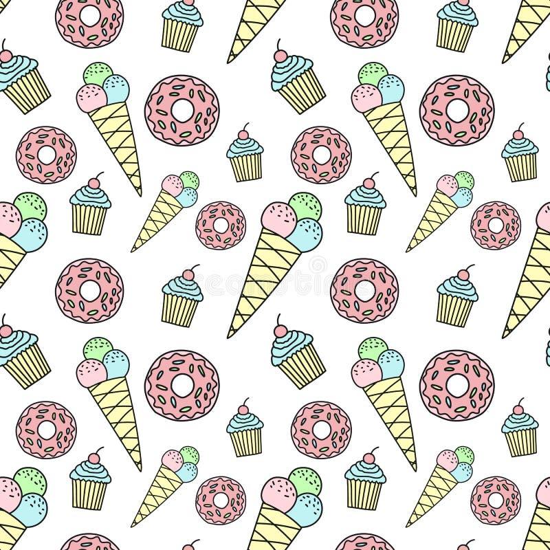Modèle sans couture de beignet tiré par la main, crème glacée, petit gâteau Fond d'image de vecteur pour des vacances, fête de na illustration de vecteur